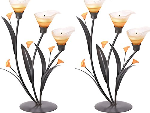 2 Light Amber Lily - 2 Amber Lilies Candle Tealight Holder Wedding Centerpieces Decor