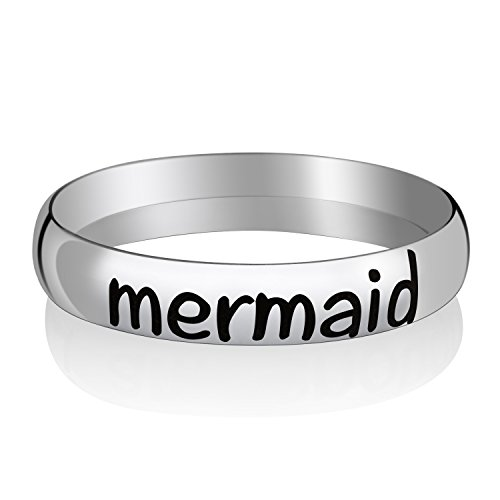 Memories Coding Custom Inspirational Rings Stacking Rings for Women (Mermaid, 6)]()