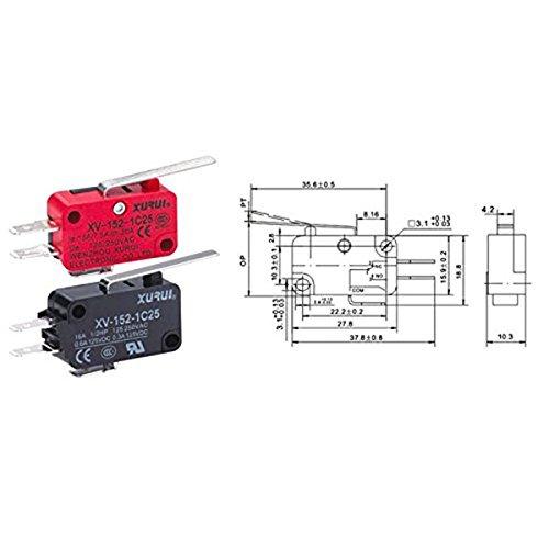 / LEORX XV-152/ /1/C25/miniatura Micro interruptor Bisagra Palanca Tipo/ 5/unidades