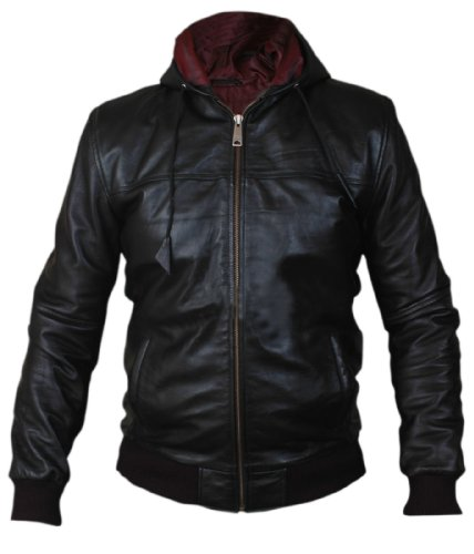Leatherly Veste Homme Hooded Airforce Bomber Faux (synthétique) Cuir Veste