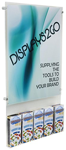 Displays2go Wall Brochure Rack with 22x28 Poster Sign Frame, Adjustable Pockets (WMS02228BO) by Displays2go