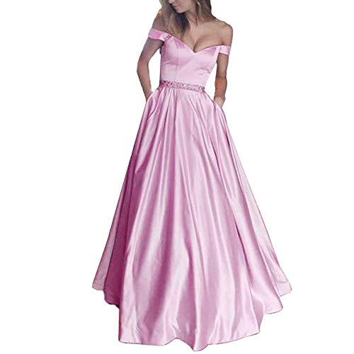 (Hatoys Women Sleeveless Vest Solid Lace Soild Sling Party Sheath Long Dress(Small,Pink))