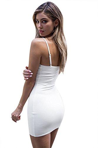 Clubwear Femmes Angcoco Bodycon Camisole Saut Slip Sangle De Base Mini-robe Blanche