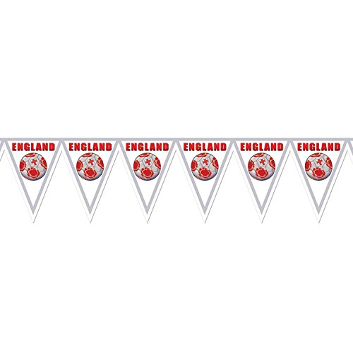 Pack of 6 Gray, Red and White ''England'' Soccer Themed Pennant Banner Party Decorations 7.4' by Party Central