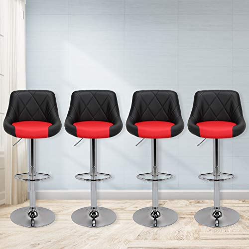 Magshion Faux Leather Bar Stools Adjustable 360 Degree Swivel Backrest Footrest Barstool Set of 4 (Style02-Black/Red)