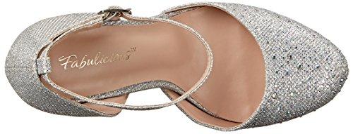 Pleaser Covet 03, Zapatos de tacón, Mujer Plateado (Slv Glitter Mesh Fabric)