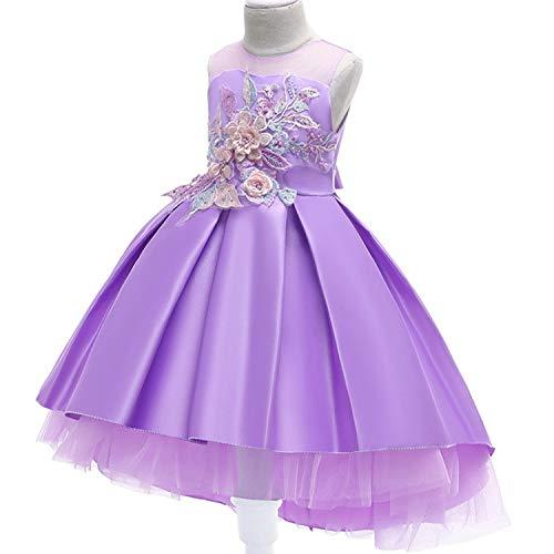 Baby Girls Infant Embroidery Dress Kids Gold Wedding Toddler High-End Dress Flower Tutu Formal Party Dress Girls,D0953-Purple,5]()