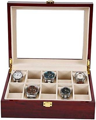 Jtoony Scatola Porta Orologi Scatola Porta Orologi in Legno 10 e vetrina in Legno di Noce Cassa per Orologi