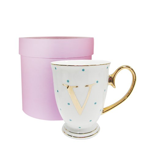 Bombay Duck 13 x 13 x 12 cm Letter A Alphabet Spotty Metallic Mug with Lilac Spots, White/Gold VIA100A