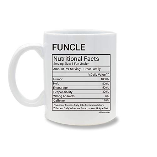 Funny Mug,Funcle Nutritional Facts 11 OZ Coffee Mug Novelty, Office Tea Travel Mugs, Printed Ceramic Water Tea Drinks Cup ()