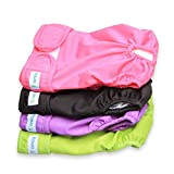 """Teamoy 4PCS Pack Dog Diapers, Reusable Washable Female Sanitary Physiological Pants for Dogs, Super-Absorbent, Comfortable and Stylish, Fit for 14""""-20"""", M"""