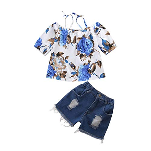 MOGOV for 6M—5Years Baby Girl Summer Suspender Floral Print Tops+Jeans Shorts Outfit -