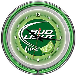 Trademark AB1400-BLLIME 14 Inch Neon Wall Clock With Officially Licensed Anheuser Busch Logo, Bud Light Lime