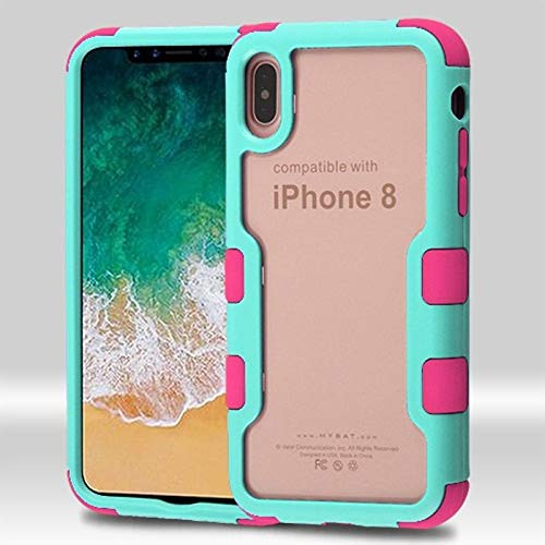 Insten Tuff Vivid Dual Layer [Shock Absorbing] Protection Hybrid PC/TPU Rubber Transparent Case Cover Compatible with Apple iPhone X/XS, Teal/Hot Pink