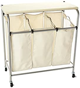 honey can do rolling laundry sorter with ironing board home kitchen. Black Bedroom Furniture Sets. Home Design Ideas