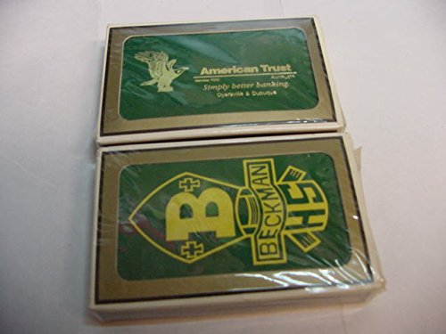 2 Deck Set Of Gemaco Bridge Cards From Dyersville And Dubuqe Iowa, Beckman Catholic High School and American Trust And Savings Bank.