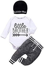 Newborn Baby Boy Clothes Little Brother Romper Worth the Wait Jumpsuit Bodysuit Tops Pants Little Man Hat Outf