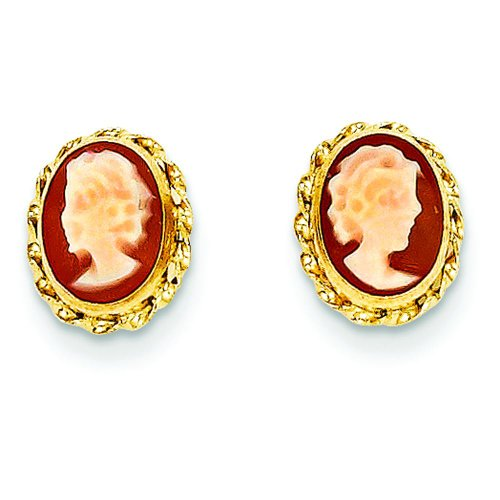 14K Yellow Gold Cameo Stud Earrings Polished Jewelry