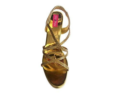 Step n Style Mujer Tacón Diamante Shimmer Zapatos de fiesta Salwar Kameez Zapatos khusa jutti Dorado - dorado