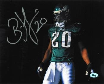 Signed Brian Dawkins Photograph - 8x10#20 horizontal green jersey w visor) - Autographed NFL Photos