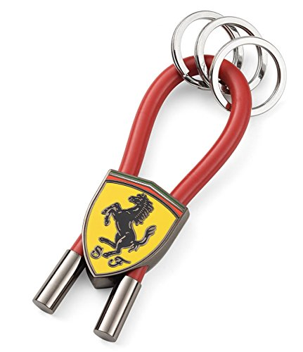 Ferrari Red Shield Rubber Strap Keychain with Metal - Shop Ferrari