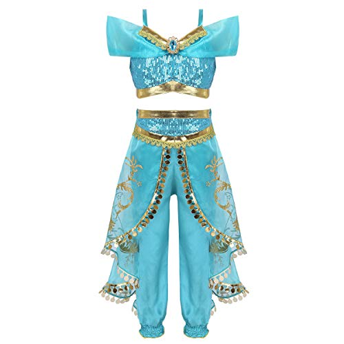 dPois Kids Girls' Princess Jasmine Shiny Sequined Costumes Crop Top with Harem Pants Cosplay Outfit Two-Pieces Set Lake Blue 9-10]()