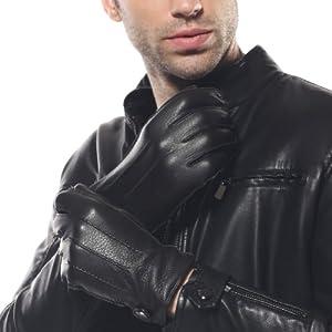 ELMA Men's Deerskin Leather Winter Driving Cashmere Lined Gloves (XL, Black)