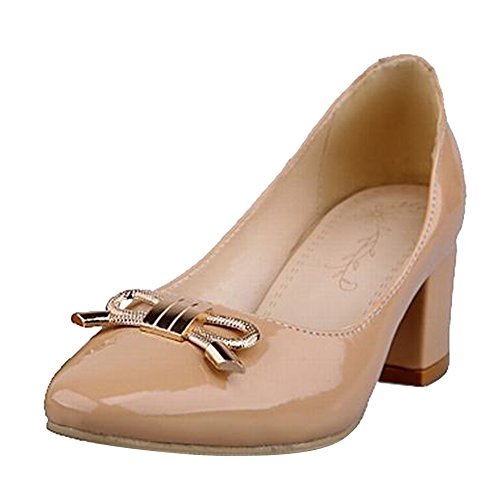 Carol Shoes Women's New Style Mid Heel Metal Bows Court Shoes apricot 1KNfleQy