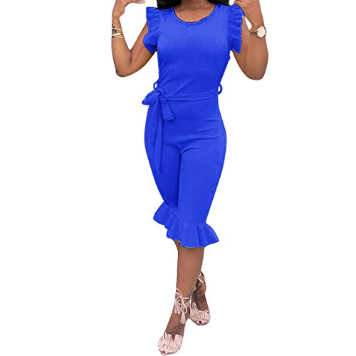 Blue One Piece Outfit - Wancy Women's Sleeveless Ruffles Short Capri Bodycon Jumpsuits Rompers One Piece Outfits with Belt Blue Large