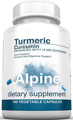 Alpine Nutrition Turmeric Curcumin 1500mg with BioPerine 95% Standardized Curcuminoids 180 Count Non-GMO Certified Organic Vegan Capsules for Joint & Immune Support