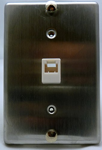 Stainless Steel Wall Plate w/ 4 Conductor Modular Jack : TWP69