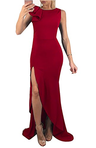 PRETTYGARDEN Women's Sleeveless Ruffles Side Split Mermaid Sexy Bodycon Prom Long Dress Evening (Sleeveless Formal Gown)