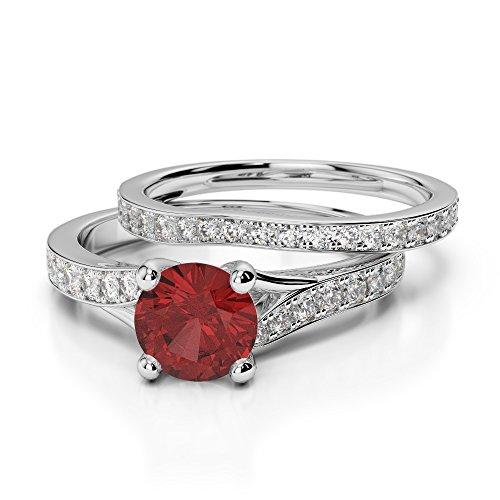 Or blanc 18carats 1CT G-H/VS sertie de diamants ronds Cut Grenat et mariée Bague de fiançailles et ensemble de Agdr-2011
