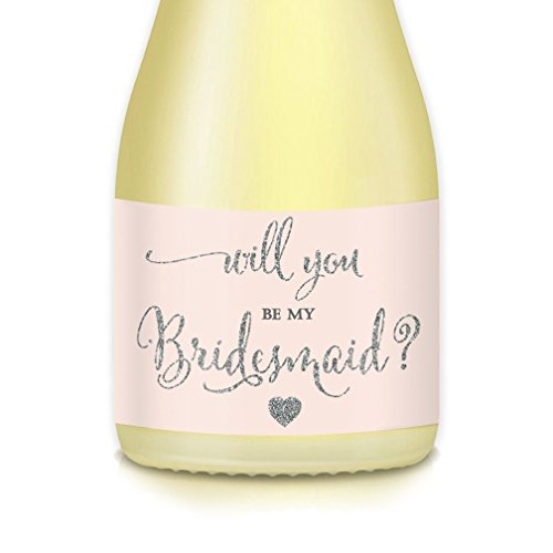 (Will You Be My Bridesmaid? MINI CHAMPAGNE BOTTLE LABELS Bridal Party Proposal Maid Matron of Honor Mini Champagne or Wine Bottle Stickers, Wedding Attendants Gift Box, Bags, Favors 3.5