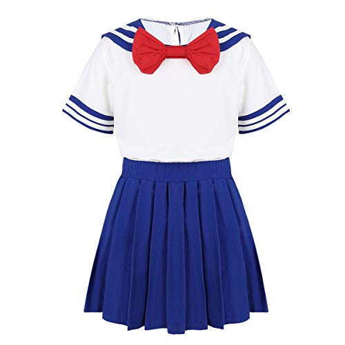 Agoky Kids Girls Japanese Sailor Moon School Uniform Costume Anime Cosplay Dress Lolita Suit T-Shirt with Skirt Set Blue 4-5
