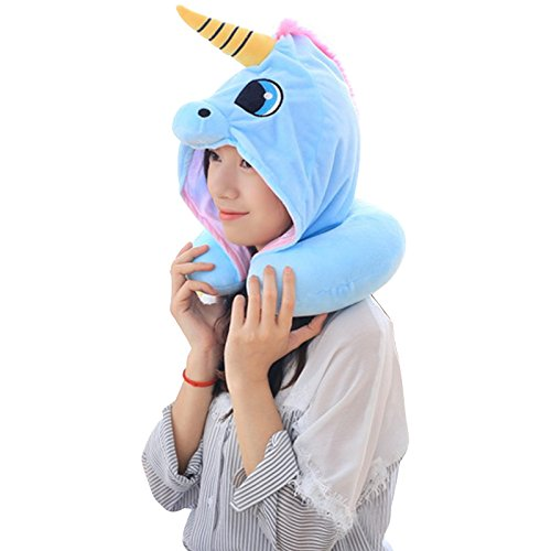 Unicorn Neck Pillow , Cartoon Animal Travel Pillow with Hoodie Cosplay for Adult Kids Neck Protection (Blue)