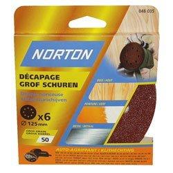 Norton Lot de 6 Disques perfores 8 Trous auto agrippants Diamè tre 125 mm Grain 36 63642519144
