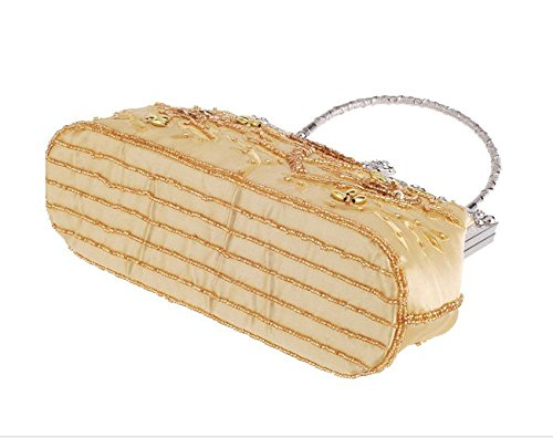 Beaded Clutch Bag Purse Sequined Women's Vintage Bagood Party Style Wedding Gold And Evening Roses Handbag gSUFpIwq