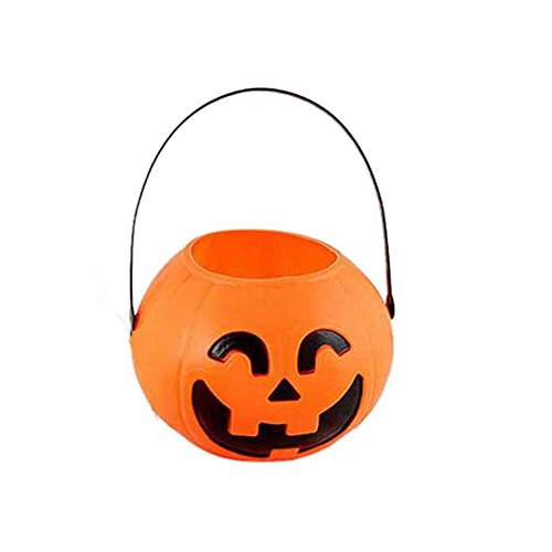BinaryABC Halloween Pumpkin Buckets,Halloween Candy Basket,Trick or Treat Bucket,Halloween Party Supplies 17cm]()
