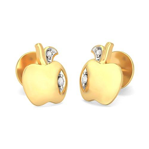 Or jaune 18K 0,05CT TW White-diamond (IJ | SI) Boucles d'oreille à tige