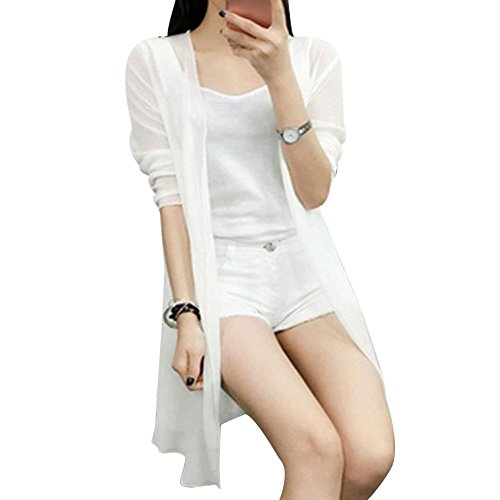 Longues beauty Soie White Ouvert Mesh Daily Coat en Blouse Manches Mousseline de Kimono Kimono TOPmountain Vrac Femmes Capotes Vin Cardigan ngSwzRqS