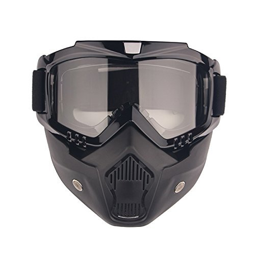 Black Motorcycle Goggles Mask Detachable, Harley Style Pr...