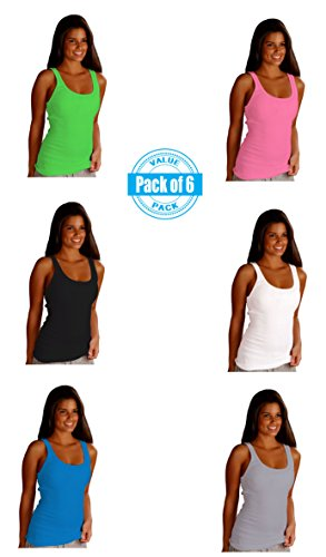 Sexy Basics Womens 6 Pack Stretch Ribbed Tank Tops