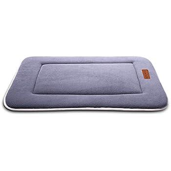 QIAOQI Dog Bed Kennel Pad Crate Mat | Washable Orthopedic Antislip Beds w/Dense Memory Foam Cushion Padding Bolster |