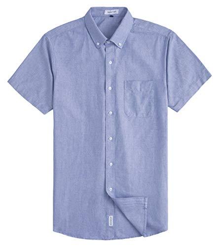 MUSE FATH Mens Cotton Short Sleeve Button Down Pocket Dress Shirt-Light Blue-XXL (100 Cotton Mens Short Sleeve Dress Shirts)