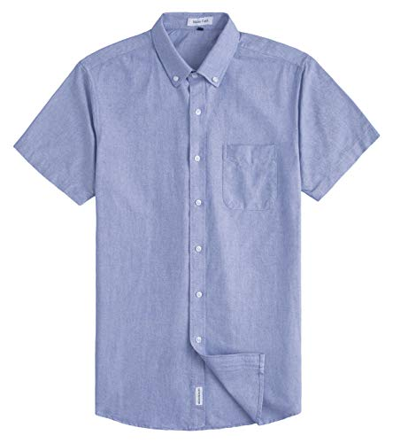 MUSE FATH Men's Oxford Dress Shirt-Casual Short Sleeve Shirt-Button Down Point Collar Shirt with Chest Pocket-Light Blue-S
