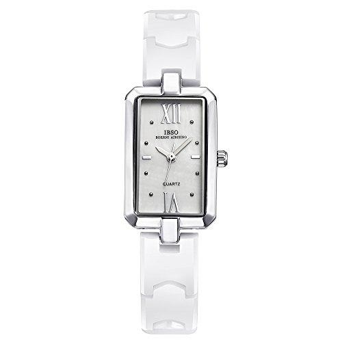 Bracelet Diamond Dial Watch (IBSO Women White Ceramic Wrist Watch Diamond Dial Bracelet Watch Girl Rhinestone Dial Rose Gold Watch (3848 Silver))