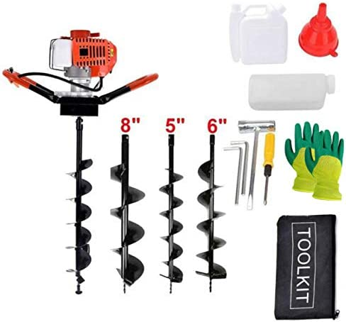 1.8KW Petrol Gas Powered Earth Auger with 3 Replacement Drill Bits EASYG 52cc 2 Stroke Post Hole Digger 5, 6, 8