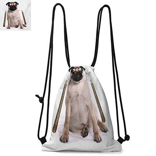 PugEasy to carry drawstring backpackNinja Puppy with Nunchuk