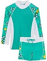 Tuga Girls UPF 50+ Shoreline L/S Rash Guard and Swim Short (UV Sun Protective)